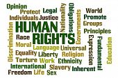 Human Rights word cloud on white background