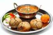 stock photo of rajasthani  - traditional rajasthani food daal baati - JPG
