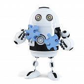 Robot Connecting Puzzle Pieces. Technology Concept. Isolated. Contains Clipping Path