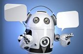 Robot Customer Service Operator With Headset And Speech Bubbles. Isolated, Contains Clipping Path