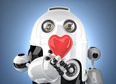 Robot With Heart In Hand. Technology Concept. Contains Clipping Path.