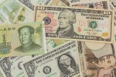 Colorful Of  World Banknotes Background.