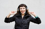 Beautiful Girl Listens A Music