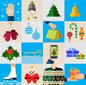 Christmas icons, elements and illustrations. Christmas Greeting Card.