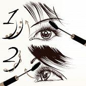 Fashion Vector Poster With Make Up, Maxmara, Female Eyes And Lashes.ai