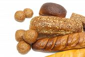 Bakery Products On White Background Close-up.