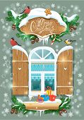 Christmas And New Year Card With Wooden Frosty Window, Fir Tree Branches, Birds And Snowflakes.