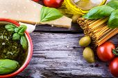 picture of pasta  - Italian and Mediterranean food ingredients on old wooden background - JPG