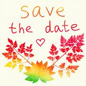 Save the date card. Watercolor rainbow.