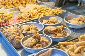 Fried Chicken And Squid At Traditional Market In Taiwan