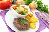 Ostrich Steaks With Baked Potatoes