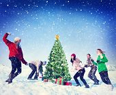 image of snowball-fight  - Christmas Snowball Fight Winter Friends Yuletide Concept - JPG