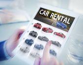 Digital Online Search Car Rental Concept
