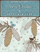 Background With Christmas Elements And Label With Text Message