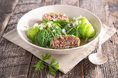 cabbage rolls with beef and broth