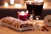 Apple Strudel With Sugar And Mulled Wine