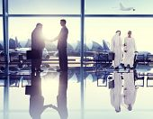 Group of People Airport Business Travel Communication Concept