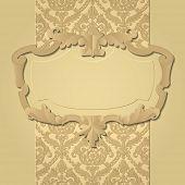 Paper beige baroque frame against a vintage background