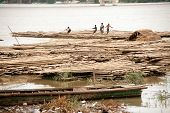 Bamboo raft on Port Activities On Ayeyarwaddy River,Myanmar.
