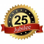 Jubilee Button With Banners - 25 Years