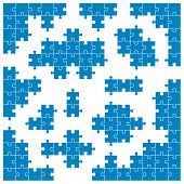 Colored Puzzle - Corner Pieces And Individual Parts