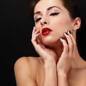 Beautiful Enjoying Makeup Female With Red Lips Touching Her Health Skin