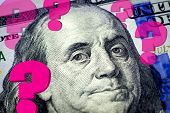 Benjamin Franklin's Portrait And Question Marks