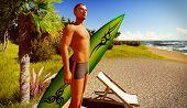 Hawaiian paradise with male surfer
