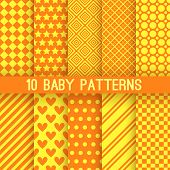 Baby different vector seamless patterns. Orange and yellow colors