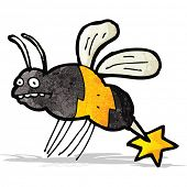 image of wasp sting  - cartoon stinging wasp - JPG