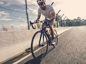 Cyclist In Maximum Effort