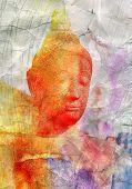 watercolor retro buddha head