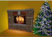Fireplace And Christmas Tree