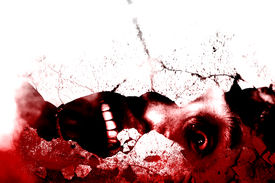 stock photo of horror  - Disturbingly Face Of Man With Blood Under Cracked Wall - JPG