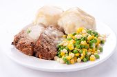 image of meatloaf  - meatloaf with mashed potatoes and gravy and vegetables - JPG