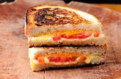 image of tomato sandwich  - classic grilled cheese and heirloom tomato sandwiches - JPG