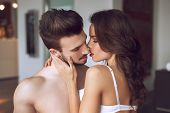 image of lovers  - Sexy lovers foreplay at luxury flat sensual milf foreplay with young man - JPG