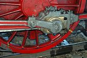 Red Wheel Of An Old Steam Train