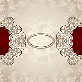 stock photo of vintage jewelry  - Vintage background with seamless pattern in pearly beige and red colors for invitation or congratulation or for package perfumer - JPG