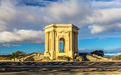 image of aqueduct  - Water tower at the end of aqueduct in Montpellier France - JPG