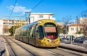 stock photo of tram  - MONTPELLIER FRANCE  - JPG