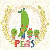 picture of peas  - Sweet peas in cute cartoon style - JPG