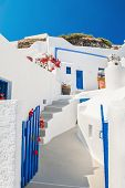 image of greek-architecture  - Old street in Fira town - JPG
