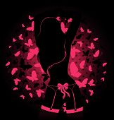 foto of striper  - silhouette of beautiful womanish body on a background with butterflies - JPG