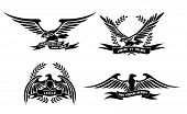 image of eagles  - Set of eagle heraldic labels with laurel wreaths - JPG