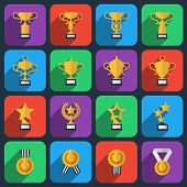 picture of prize winner  - Set of winner trophy and award icons in flat style - JPG