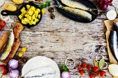image of flounder  - Fried herring with potatoes - JPG