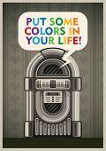 image of jukebox  - Vintage poster with jukebox - JPG