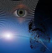 stock photo of human eye  - Binary web and fingerprint with human eye - JPG