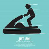 image of ski boat  - Jet Ski Sport Black Symbol Vector Illustration - JPG